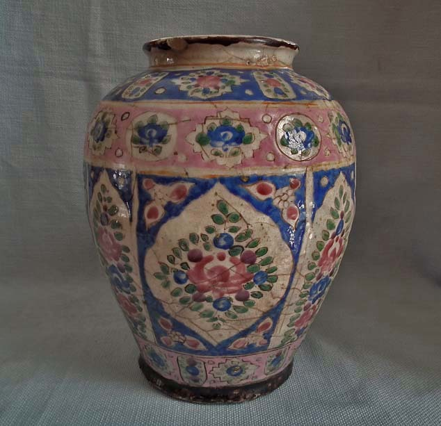 SOLD Antique 19th century Persian Qajar Dynasty Islamic Large Pottery Vase