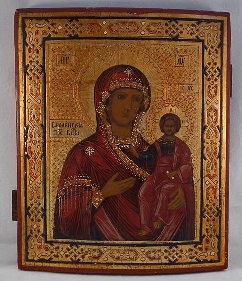 SOLD Antique 19th century Russian Orthodox Icon Smolensk Mother of God Smolenskaya