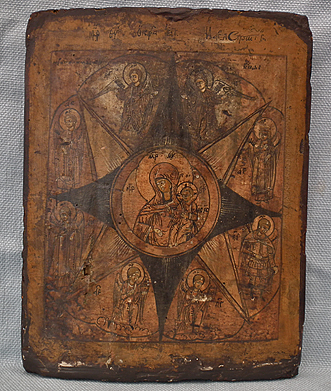 SOLD Antique 18th century Russian Orthodox icon The Virgin of the Burning Bush Neopalimaya Kupina