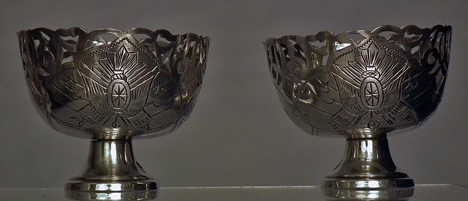 SOLD Pair of Antique 18th -19th century Turkish Ottoman Silver Military Islamic Zarfs