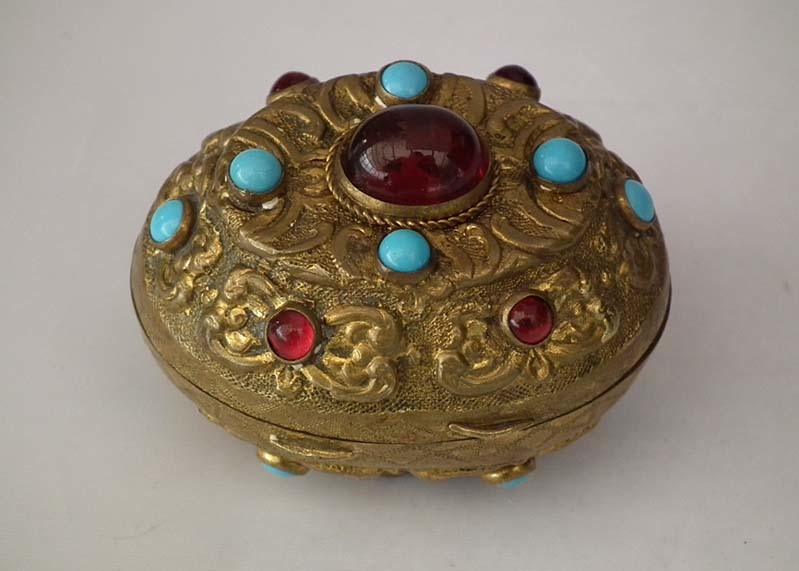 SOLD Antique 18th -19th century Turkish Ottoman Jeweled Tombak Gilt Copper Alloy Snuff Box