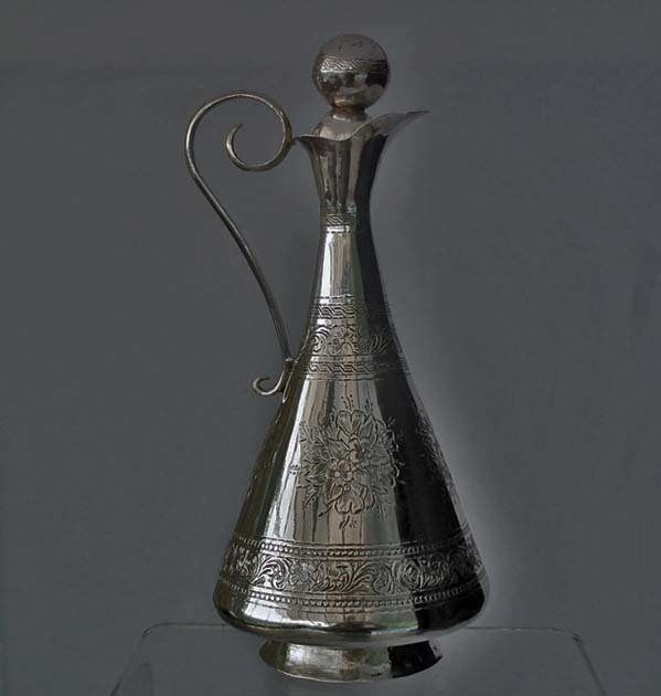 SOLD Antique 19th Century Russian  Caucasian Georgian or Armenian Silver Jug Decanter