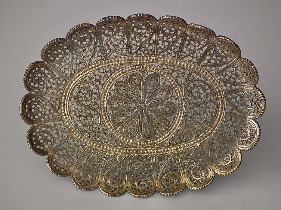 SOLD Antique Armenian Silver Filigree Small Tray 19th Century Turkish Ottoman Empire