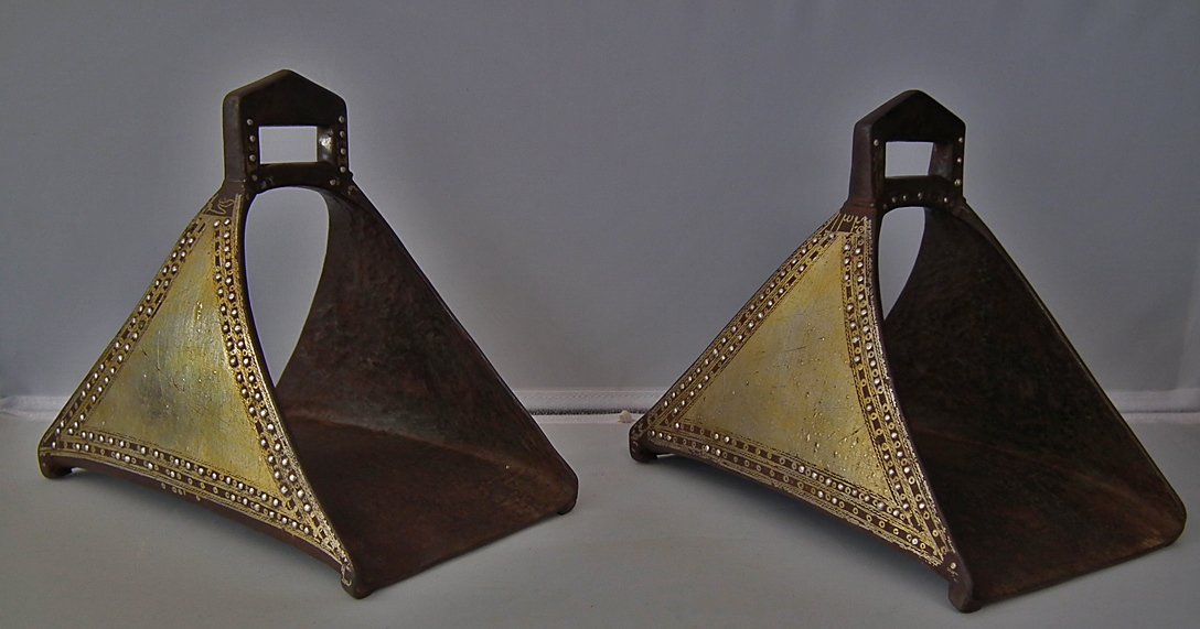 SOLD Antique Turkish Ottoman Islamic Stirrups in Silver and Gold Inlaid Arabic Characters