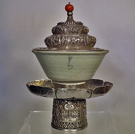 SOLD Antique Tibetan Dhakya Silver Cup Stand & Cover With 12th Century Chinese Song Celadon Porcelain Cup
