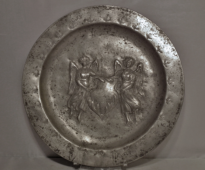 SOLD Antique 17th - 18th Century Large Relief Pewter Charger Plate