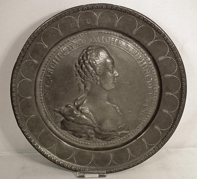 SOLD Antique 18th century European Pewter Plate Dish Portrait of Marie Antoinette