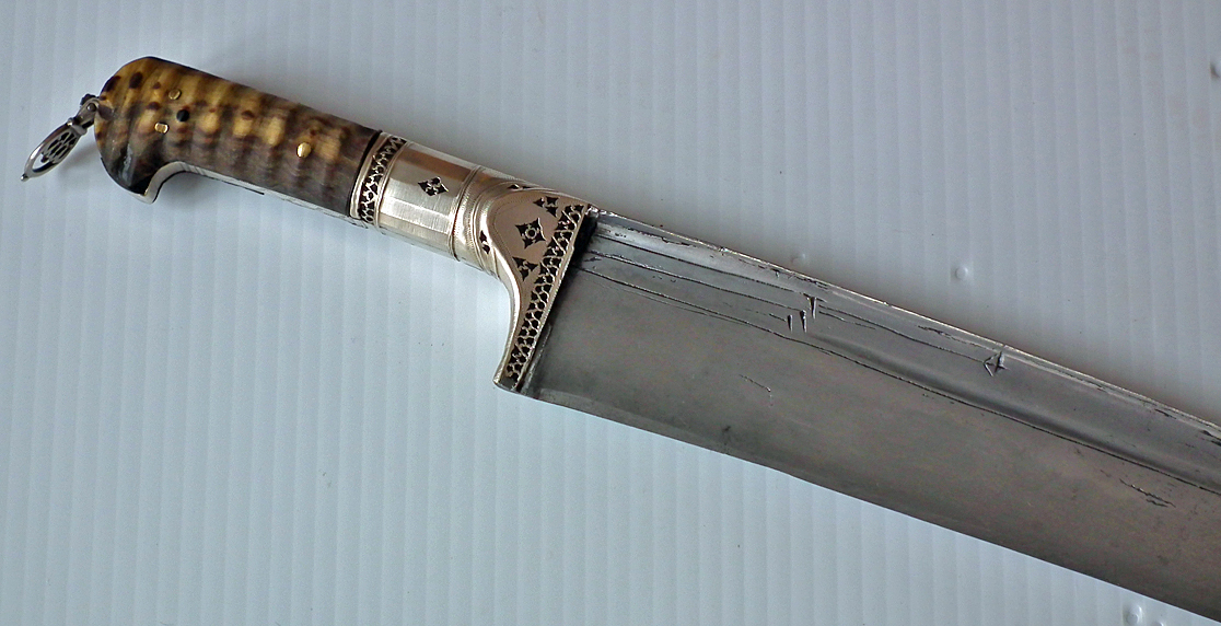 SOLD Antique Silver Mounted Indo Persian Islamic Sword Khyber Knife Salawar Yatagan