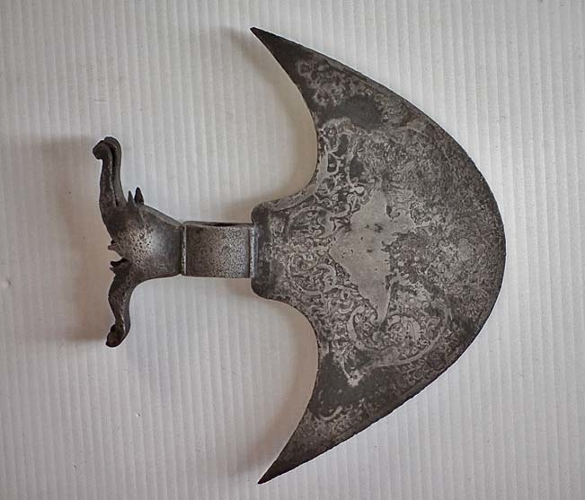 SOLD Antique Persian Qajar Dynasty Islamic Steel Axe Head Tabar