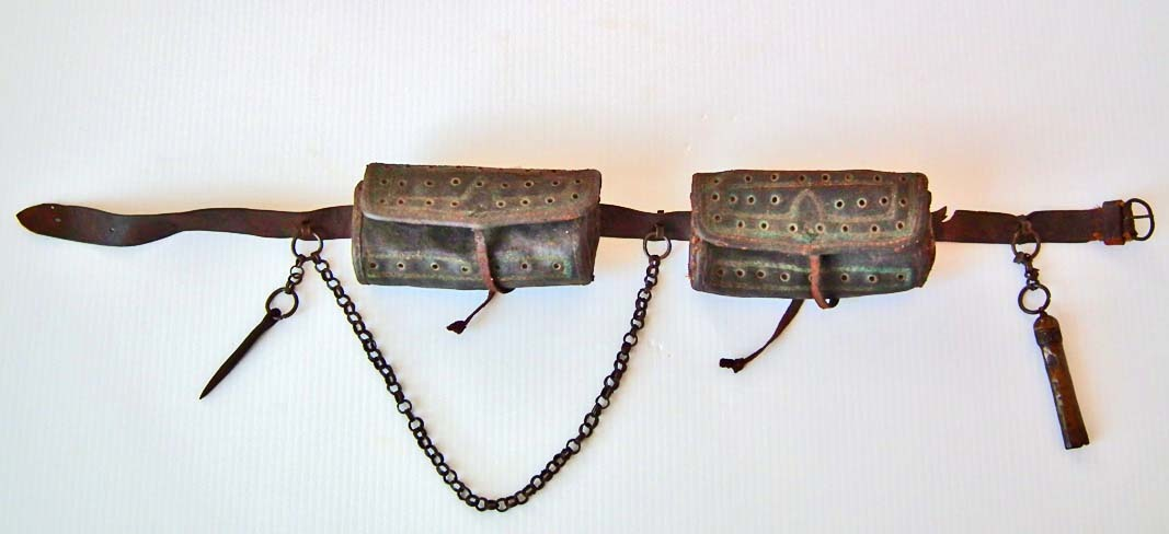 SOLD Antique Turkish Ottoman Islamic Ammunition Belt Bandolier With 2 Leather Bullets Pouches
