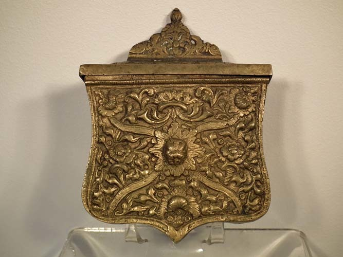 SOLD Antique Islamic Turkish Ottoman Balkan Brass Cartridge Pouch Palaska