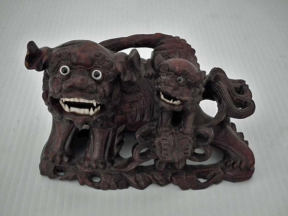 SOLD Semi Antique Chinese rosewood sculpture of the Foo Dogs Buddhist Guardian Lions Shishi
