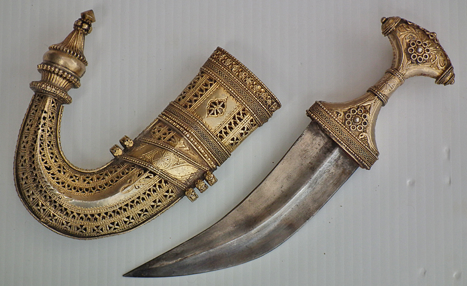 SOLD Antique Silver Gilt Saudi Arabian Meccan Jambiya As The Lawrence Of Arabia Dagger