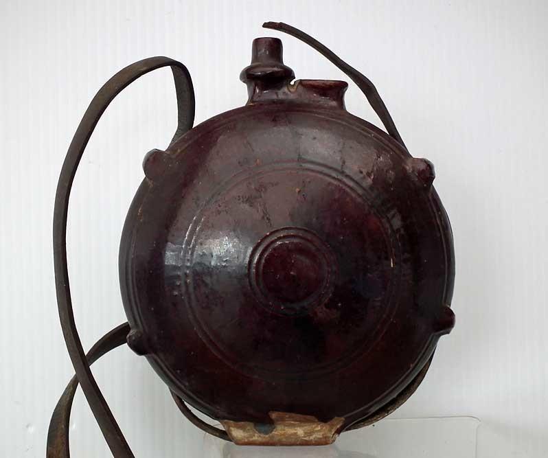 SOLD Antique Turkish Ottoman Islamic Ceramic Channakale -Canakkale Pilgrim Flask