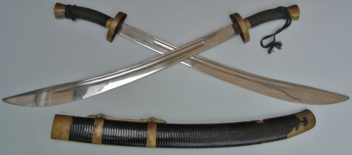 SOLD Pair OF Antique Chinese Qing Dynasty Shuang Dao Niuwei Dao Swords