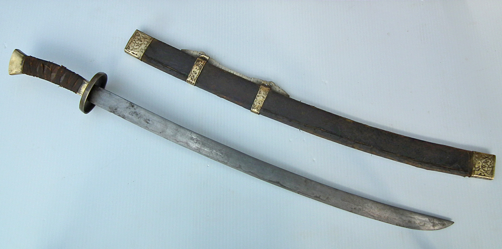 SOLD Antique 18th-19th century Chinese Qing Dynasty Damascus Steel Sword Luyedao
