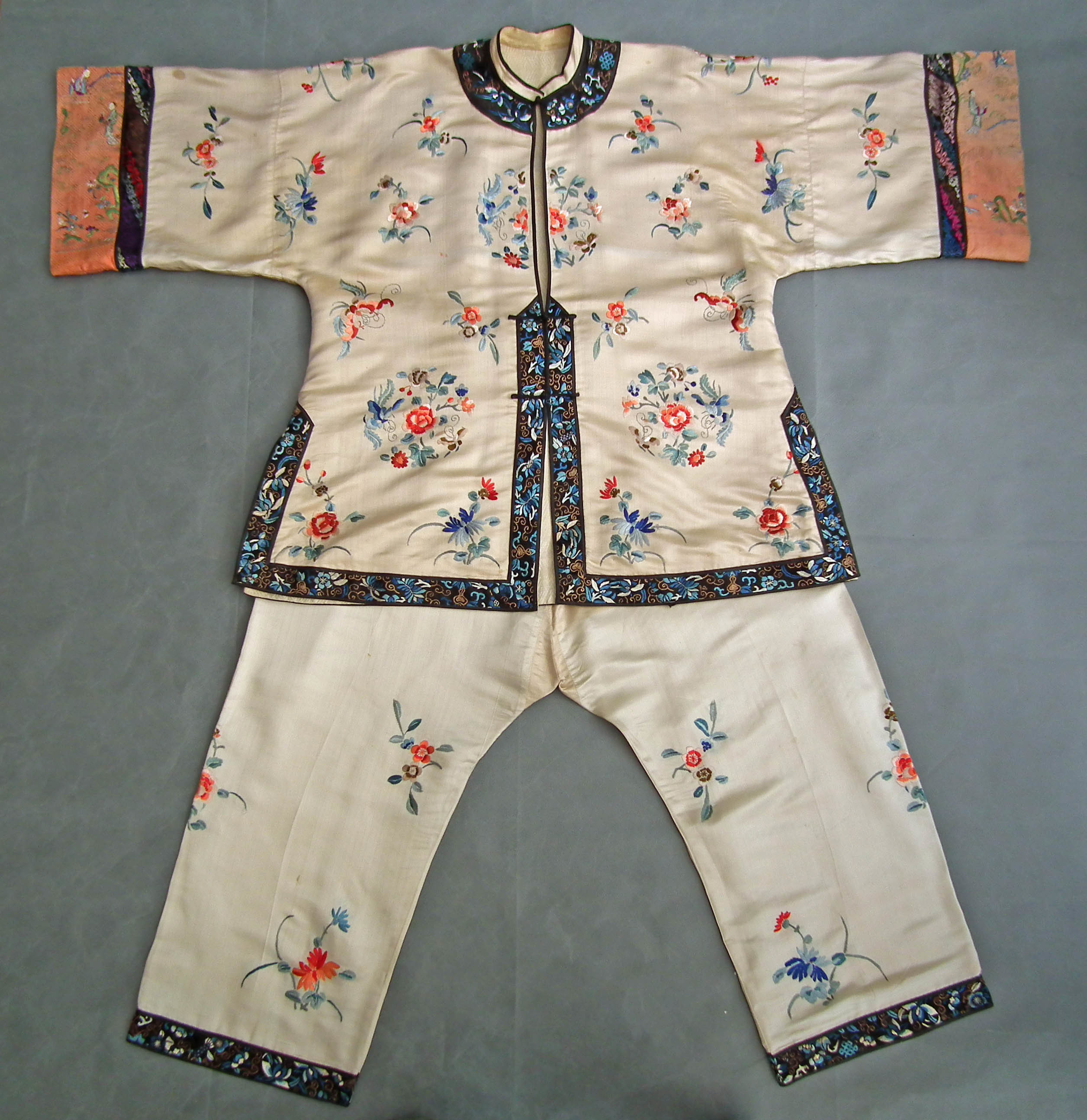 SOLD Antique Chinese 19th century Qing Dynasty Women's Silk Costume Robe - Coat & Trousers