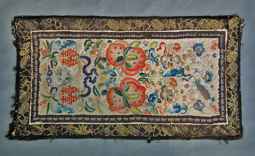 SOLD Antique Embroidery Chinese 19th Century Qing Dynasty Embroidered Silk Art Panel