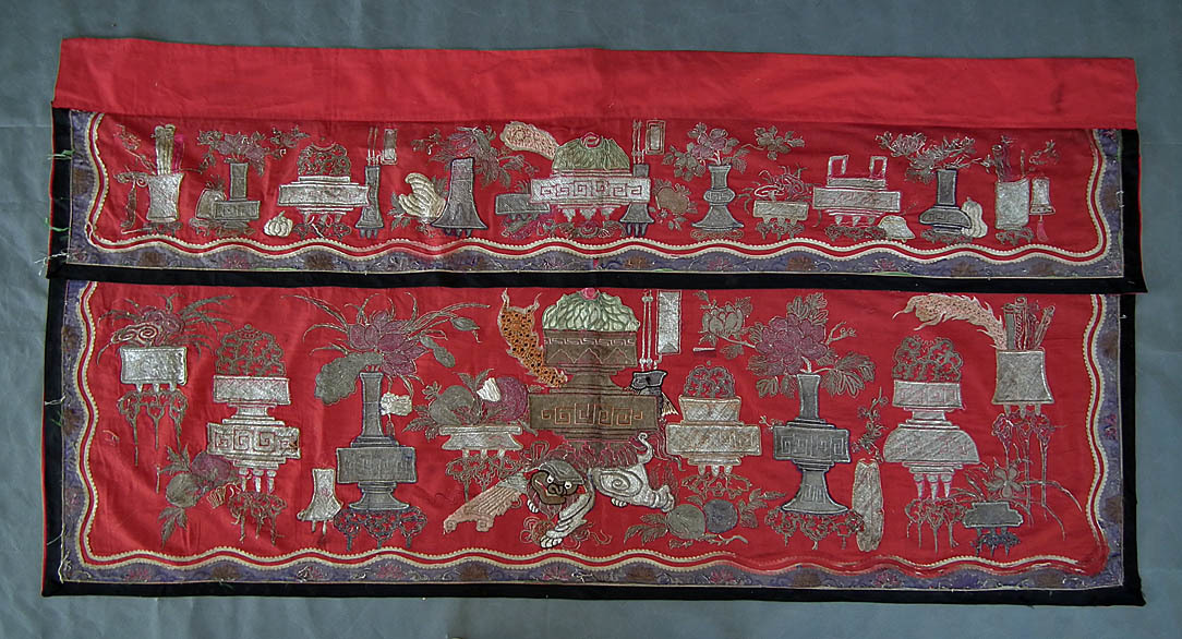 SOLD Antique Chinese Qing Dynasty Embroidered Large Temple Altar Frontal Hanging Cloth