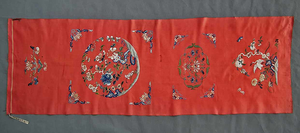 SOLD Antique 19th Century Chinese Embroidery Qing Dynasty Embroidered Satin Silk Panel