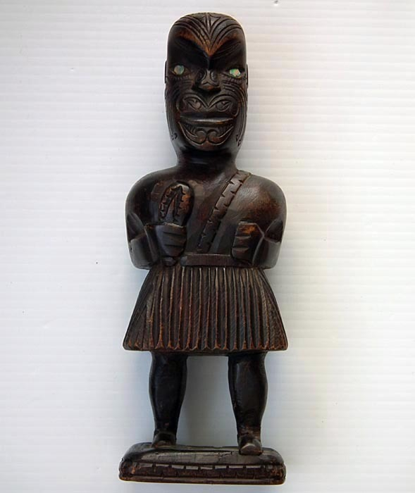 SOLD Maori Wooden Ancestor Tekoteko Figure New Zealand 19th Or Early 20th Century