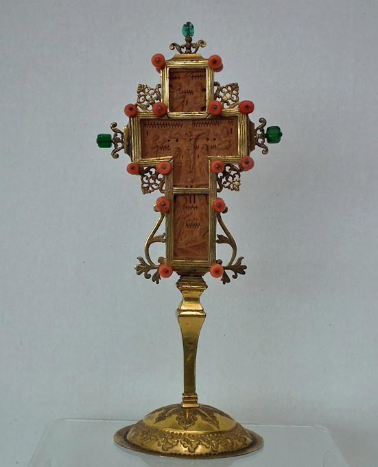 SOLD Antique 17th 18th century Silver Gilt Greek Mount Athos Boxwood Blessing Cross