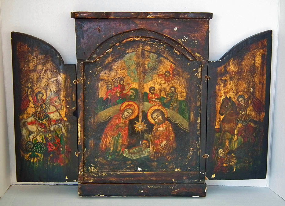 SOLD Antique 18th Century Greek Post-Byzantine Orthodox Triptych Nativity Icon