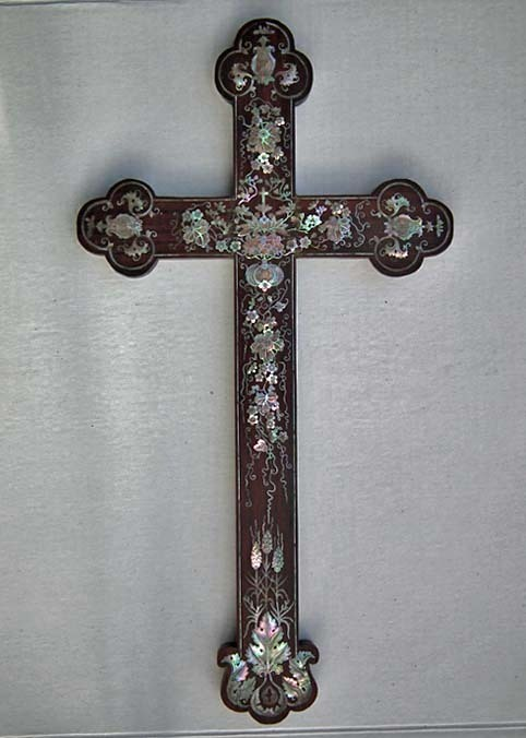 Rare AntiqueSOLD  Chinese 17th - 19th century Mother-of-Pearl Inlaid Wood Apostle Cross