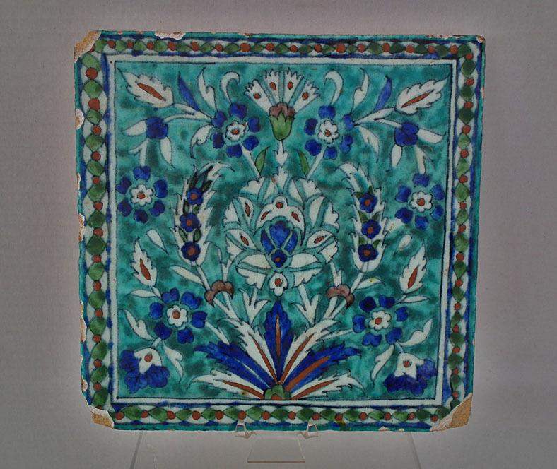 SOLD Antique 19th Century Turkish Ottoman Kutahya Ceramic Islamic Tile