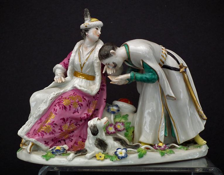 SOLD Antique Porcelain Figurine Group Polish Handkiss Model By Kändler for Meissen