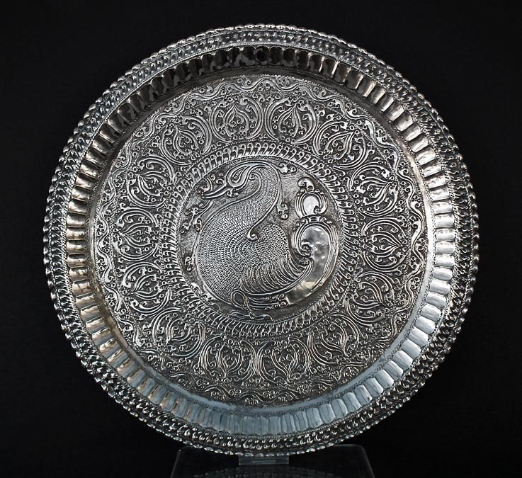 SOLD Antique Indian Silver Salver Thali 19th century India Deccan- Maharashtra