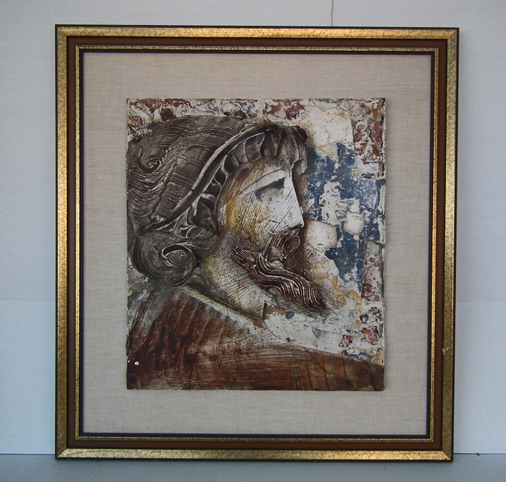 SOLD Mural Bas-Relief Painting by listed Croatian American Artist Ljubo Biro (1913-1994) Portrait Of A Man In Classical Ancient Manner