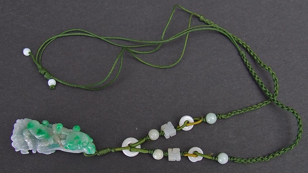 SOLD Chinese Jadeite Jade Pendant Bok Choy Cabbage Necklace