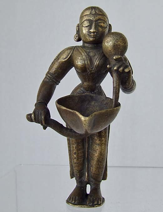 SOLD Antique 16th - 18th Century India Bronze Figure Indian Hindu Goddess Deepa Lakshmi Lamp