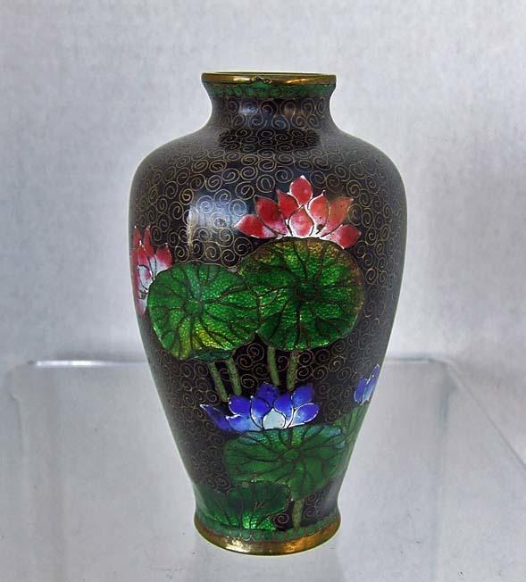 Antique 19th Century Japanese Meiji Cloisonne Vase Gin Bari Lotus