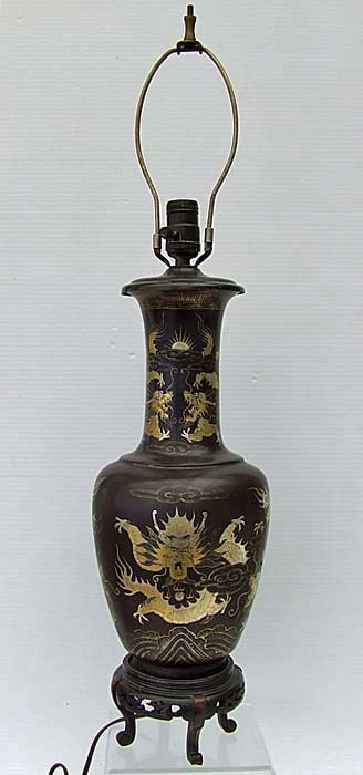 SOLD Antique 19th Century Qing Dynasty Chinese export Papier Mache Brown Lacquer Vase