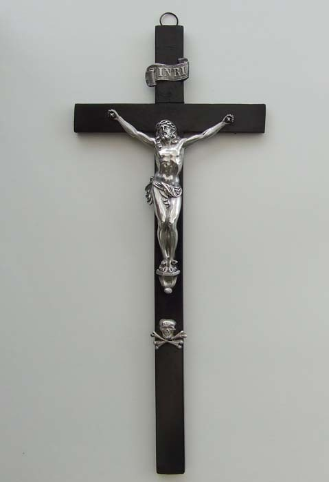 SOLD Antique Crucifix Cross Ebony & Silver 18th Century Netherlands