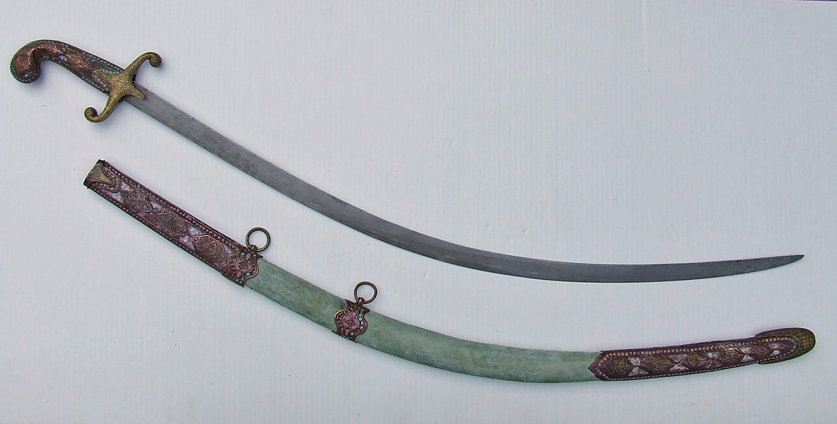 SOLD Antique 18th century Enamelled Islamic Ottoman Turkish Damascus Steel Sword Shamshir