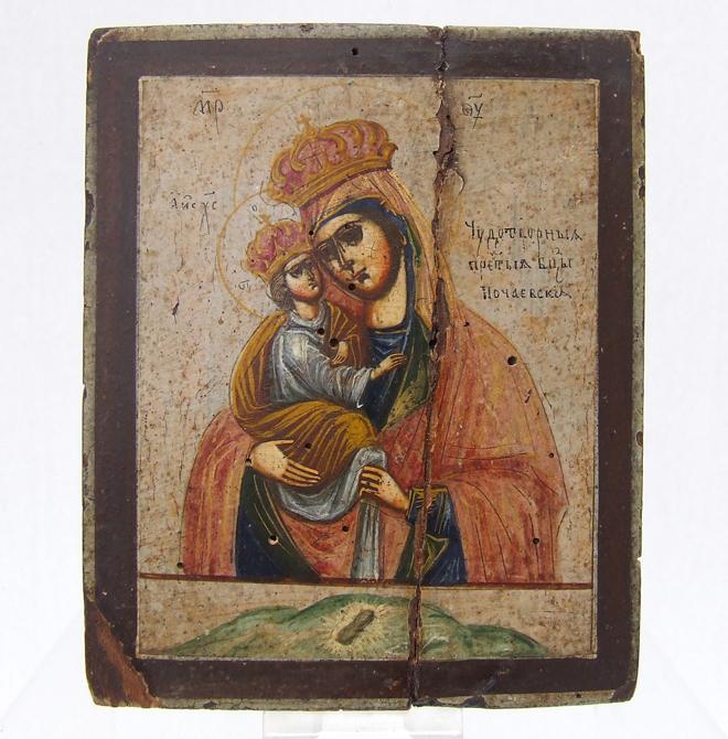 SOLD Antique Ukrainian Polish Russian Icon The Pochayiv Mother Of God Matka Boska Poczajowska