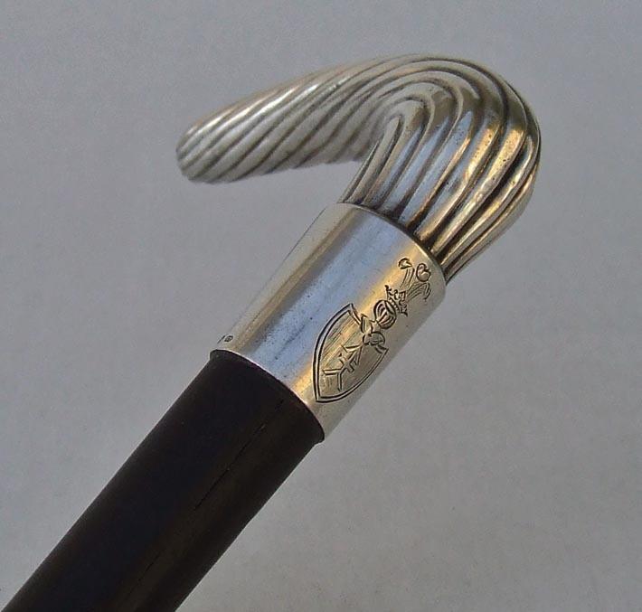SOLD  Antique Silver Walking Stick Cane Polish Coat Of Arms Kościesza Poland