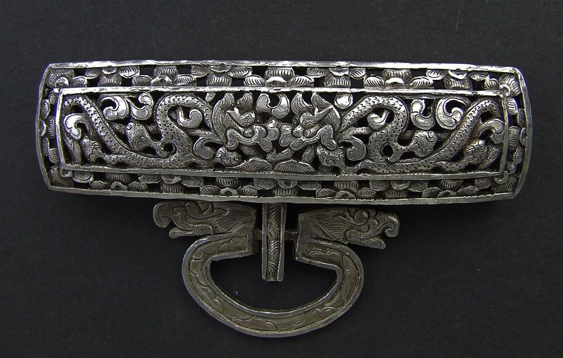 SOLD Antique 19th Century Tibetan Silver Apron Buckle Clasp