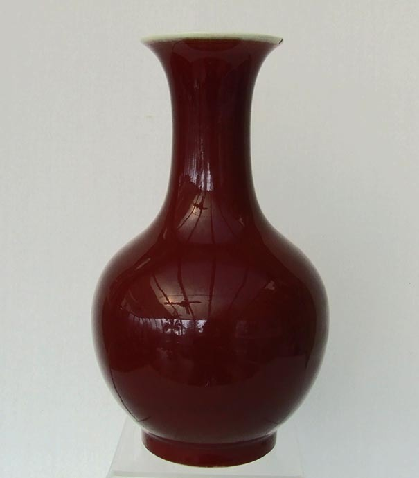 SOLD Antique Chinese 19th Century Qing Dynasty Large Porcelain Oxblood Sang de Boeuf Glaze Vase