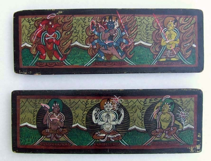 SOLD Antique Tibetan Wooden Covers For A Buddhist Book.