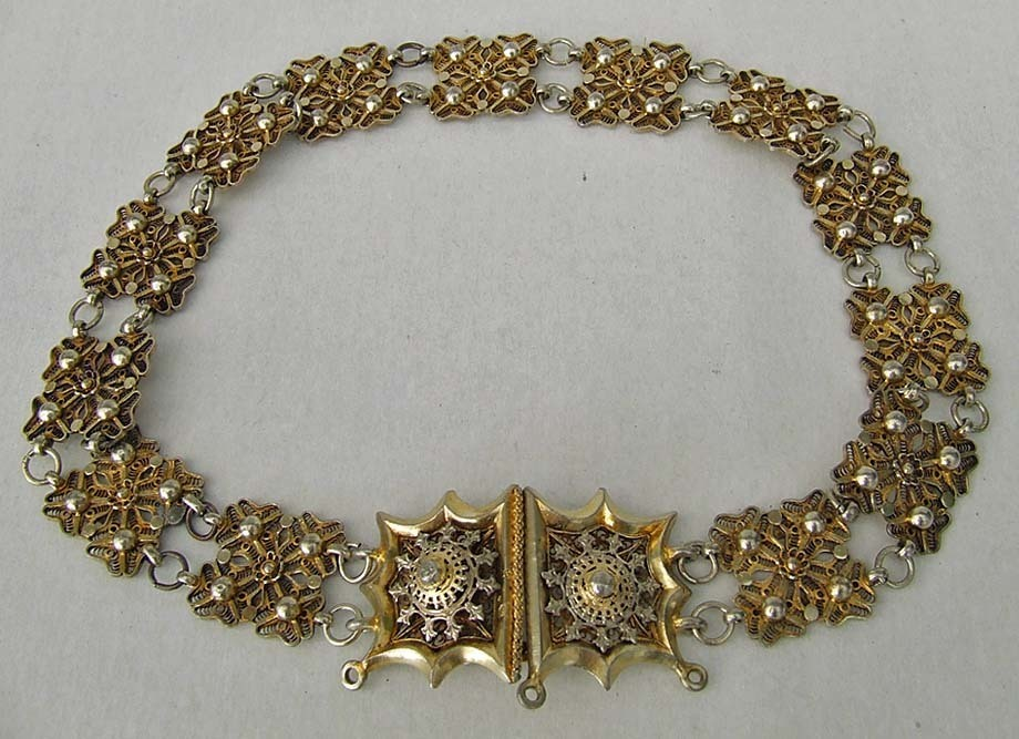 SOLD  Antique Austro Hungarian Gilt Silver Jewish Betrothal Bridal Marriage Belt