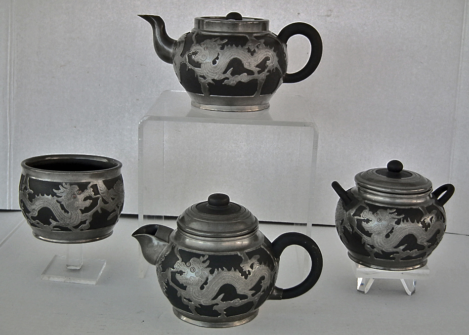 SOLD Antique Chinese Qing Dynasty Yixing Pewter Mounted Tea Set