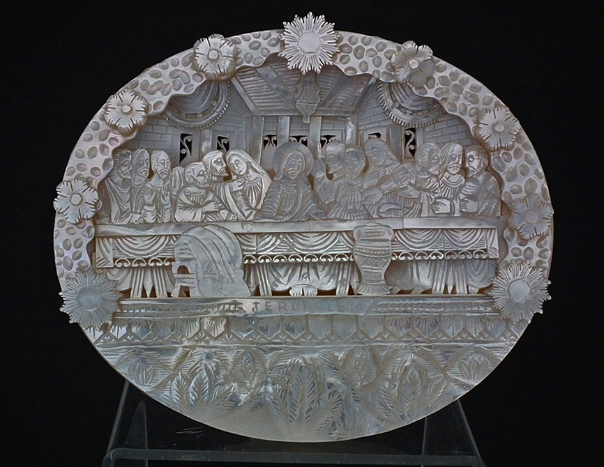 SOLD Antique Jerusalem Palestinian Mother-of-Pearl Diorama Icon Last Supper