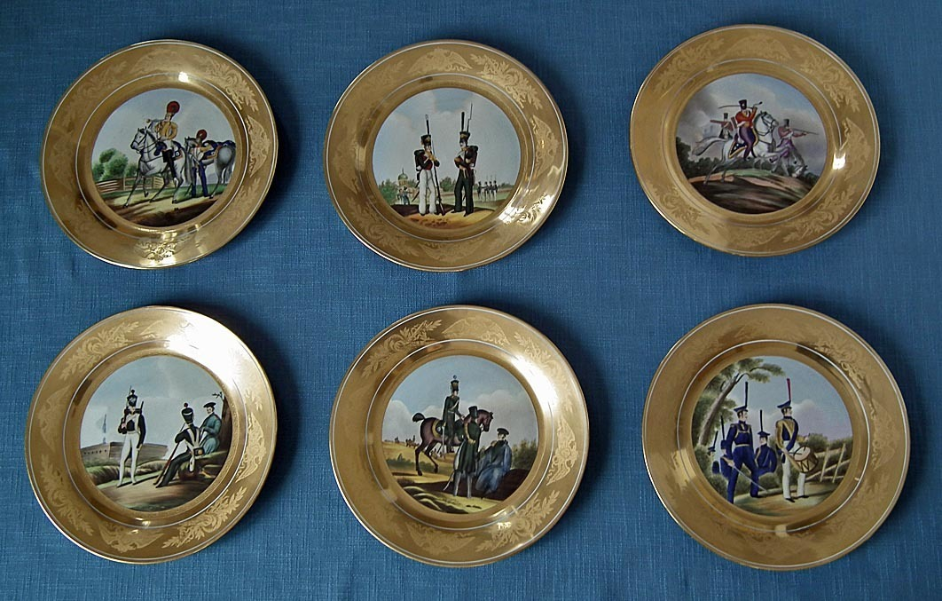 SOLD Set Of 6 Porcelain Military Plates With Imperial Russian Soldiers