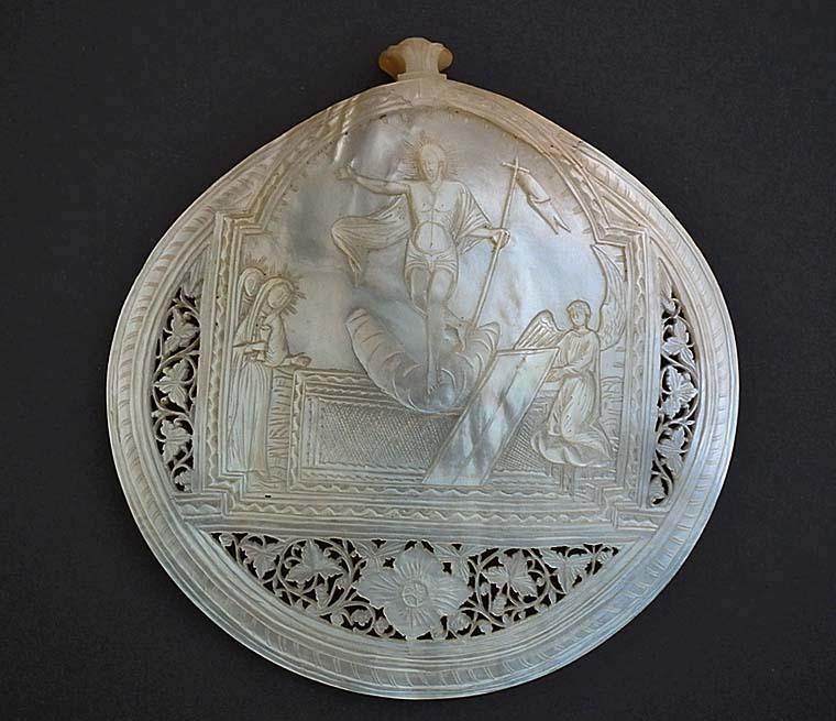 SOLD Antique Jerusalem Mother-of-Pearl Icon Resurrection of Jesus Christ Jerusalem