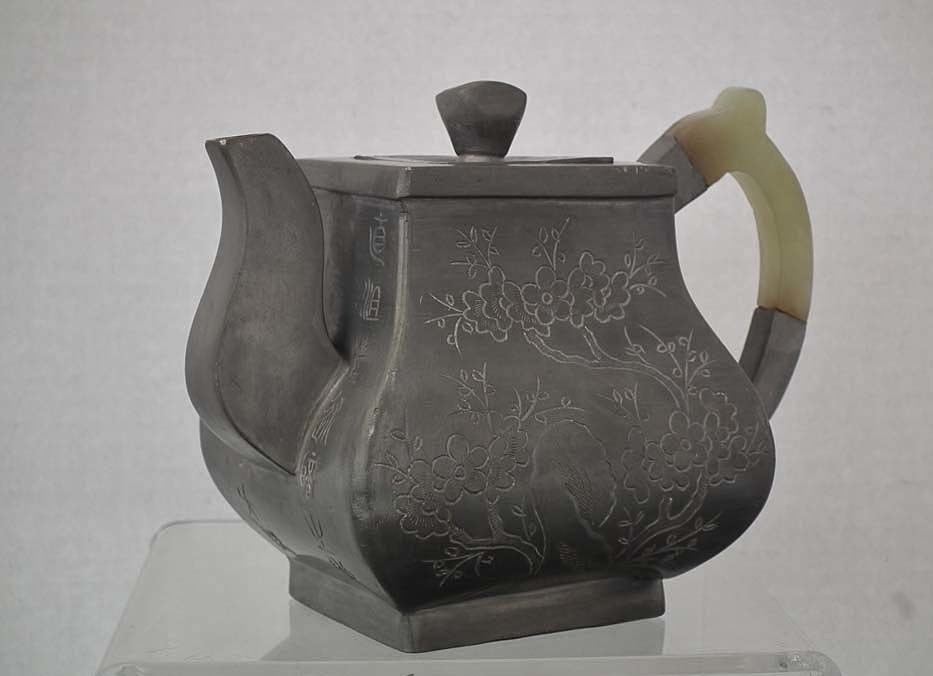 SOLD Antique 19th century Chinese Qing Dynasty Pewter And Jade Teapot
