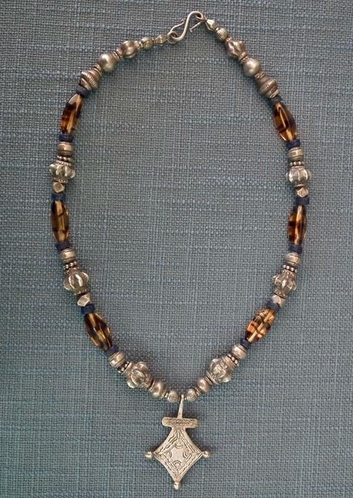 Antique SOLD Islamic Maghreb North African Tuareg Berber Necklace Silver & Glass Beads